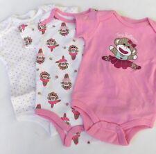 Baby Starters Girls Sock Monkey 3 Bodysuits Set Size 3 9 Months Pink Ballerina