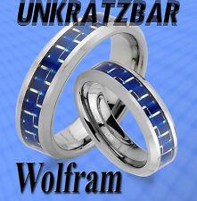 2 WOLFRAM inklusive GRAVUR TRAURINGE RINGE , CARBON Look  Blau TUNGSTEN , JW7