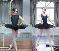 Ladies Professional Ballet Tutu 6 Layers Hard Organdy Platter Tutus Skirt Black
