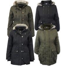 girls Brave Soul parka school hooded military fur padded winter jacket kids coat