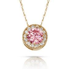 1.90Ct White & Pink Sapphire Round Halo Charm Pendant 14K Y Gold w/ Chain