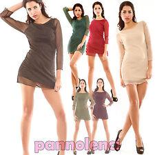 Abito vestitino velato lurex dress kleid miniabito donna Twiggy Style AS-6261