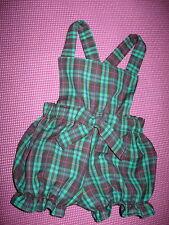 NEW Baby Girls Black Green Red Tartan Check Short Bloomers Romper set Gift Goth