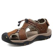 Men's Hiking Sandals Closed Toe Fisherman Beach Shoes Genuine Leather Sandals CC