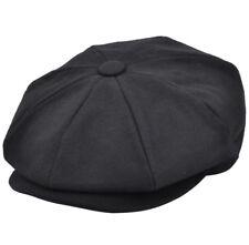 Black Hawkins Peaky Blinders Wool Mix 8 Panel Newsboy Bakerboy Flat Cap