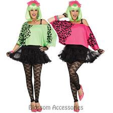 AC37 Crop Top 1980's 80s Retro Hot Pink Green Leopard Print Shirt Ladies Costume