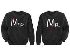 2 FOR 1 SALE: Mr. Mrs. Matching Couple soft Black Unisex Sweatshirt S-6X