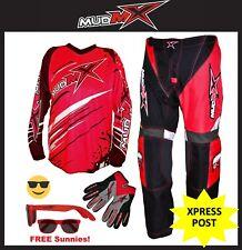 "RED MX MOTOCROSS (Pants+Jersey+Gloves) Kids Youth Junior Dirt Bike Gear 18""-30"""