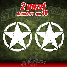 2 Adesivi STELLA US ARMY Jeep CJ CJ3 CJ5 stickers cm 10 star military 4X4 mod 03