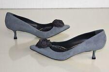 $755 NEW MANOLO BLAHNIK Camelia BB 50 Gray Grey Suede Kitten Heels Shoes 41 41.5