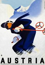 T49 Vintage Austria Skiing Austrian Travel Poster Re-Print A4