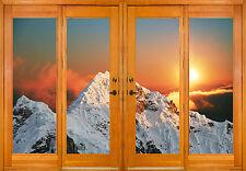 Stickers fenêtre trompe l'oeil déco montagne réf 2583 ( 10 dimensions )
