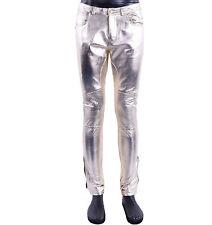 MOSCHINO RUNWAY Brillant Motard Nappa Pantalon en cuir Slim Fit doré 05409