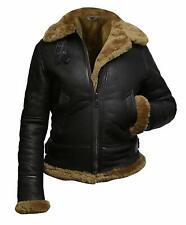 Womens Aviator Pilot Hoodie  B3 Bomber Fur Shearling Sheepskin Leather Jacket