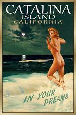 CATALINA Island California New Beach Travel Poster Marilyn PinUp Art Print 171
