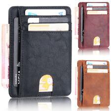 Credit Card Case Leather Wallet Mens Blocking Slim Money Clip RFID Holder Pocket