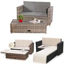 Gartensofa Gartenmöbel Lounge Poly Rattan Braun Grau Polster Sofa Garten Tisch