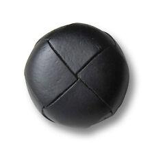 5 edle schwarze Leder Knöpfe mit Metall Öse in klassischem Design (1296sc)