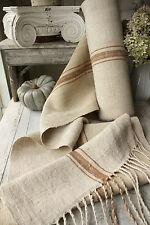 Antique homespun hemp linen RARE Toffee stripe 12.2 YDS upholstery fabric