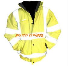 Kids Children's High Hi Viz Visibility Vis Waterproof Bomber Coat Jacket Hood