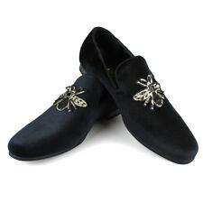 ÃZARMAN Men's Velvet Slip On Bee Embroidered Beads Smoking Slipper Dress Shoes