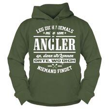 Kapuzenpullover Leg dich nie mit einem ANGLER an Fische Angeln Norwegen Geschenk