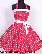 Mädchen 50er Jahre Rockabilly Kleid zum Petticoat Einschulung Gr.104-158rot/weiß