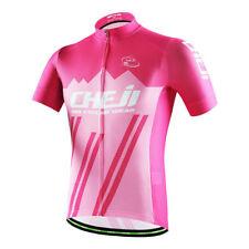 2018 CHEJI Men's Reflective Cycling Jersey Top Mountain Bike Cycle Shirt Pink