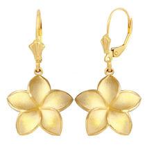 Solid 10k / 14k Yellow Gold Large Five Petal Plumeria Flower Matte Earrings Set