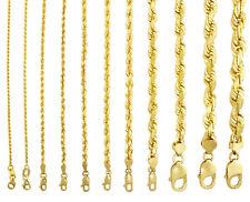 "14K Yellow Gold 1mm-10mm Solid Diamond Cut Rope Chain Bracelet Mens Women 7""- 9"""