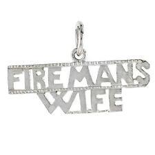 "Sterling Silver ""Fireman`s Wife"" Word Pendant / Charm, 18"" Italian Box Chain"