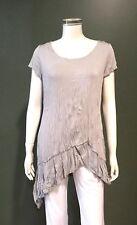 EVERSUN Women's Short Sleeve Crushed Jersey top Grey Size10,12,14,16,18,20