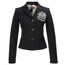 ICE ICEBERG Black Three Button Cotton Blend Emblem Blazer L071 $404 NWT
