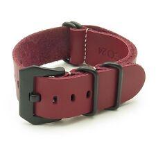 StrapsCo Red Leather Watch Band Strap w/ Matte Black PRE-V Buckle