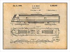 1937 Dean Tractor Unit Railroad Locomotive Patent Print Art Drawing Poster 18X24