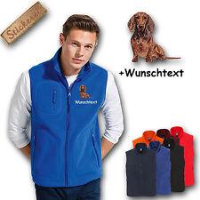 Fleece Weste Fleeceweste bestickt Stickerei Hund Dackel rotbraun Teckel + Name