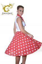 FANCY DRESS 50S ROCK&ROLL SKIRT&SCARF RED&WHITE POLKADOT FITS 8 - 12 - 26 INCH
