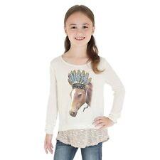 WRANGLER Rock 47 Girls Indian Horse Feathers Light Long Sleeve Shirt GWK128M
