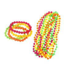 Neon Bead Bracelets Necklace 70's & 80's Party Woman Bachelorette Party Decor YJ