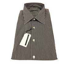 XACUS camisa de hombre marrón oscuro riga blanco ajustado 75% algodón 21%