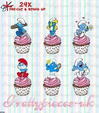 Schtroumpfs 24 stand-up pre-cut plaquette papier cup cake toppers
