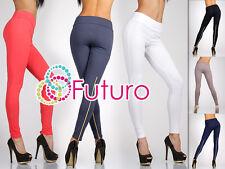 Unique & Trendy Full Length Leggings with Zipper   High Waist Jeggings 1054