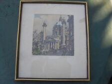 INCISIONI VINTAGE STAMPA Henry Goering Hand Tinted incorniciato firmato Vienna karlskirch