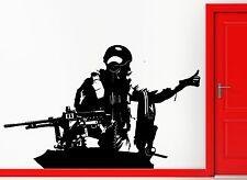 Wall Stickers Vinyl Decal Machine Gun Tank Military Army Decor  (z2281)