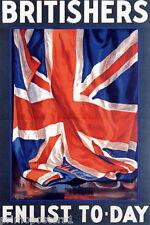 WAR BRITISHERS ENLIST TODAY ENGLAND  BRITISH FLAG VINTAGE POSTER REPRO