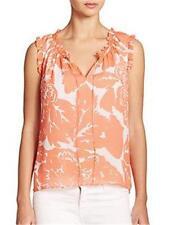 DVF Diane Von Furstenberg REBEKAH Printed Ruffle Blouse Top Floral Coral $248