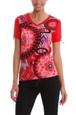 Desigual Fresa Top S-XL 10-16 RRP�64 Red Pink Tshirt Soft  Knit Ribbon Sleeves