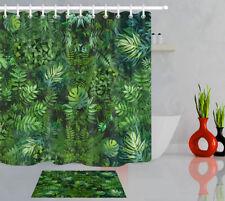 Bathroom Tropical Jungle Palm Plants Leaf Polyester Fabric Shower Curtain Hooks