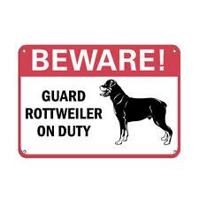 Beware! Guard Rottweiler On Duty Pet Animal Sign Aluminum METAL Sign
