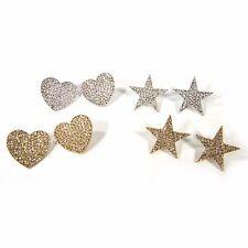 Crystal Rhinestone Silver Gold Star Heart Stud Fashion Jewelry Women Earrings